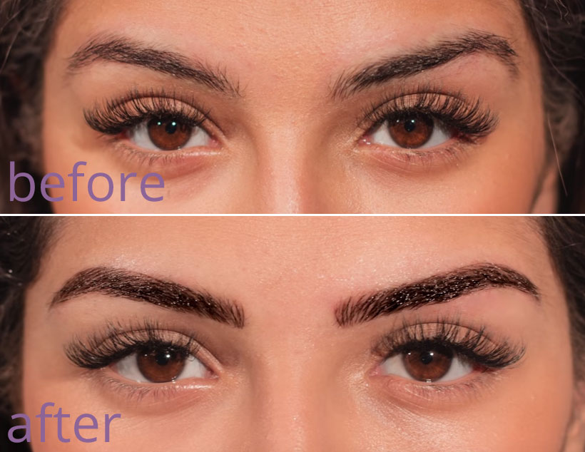 Microblading before and after - Dundas, Ontario